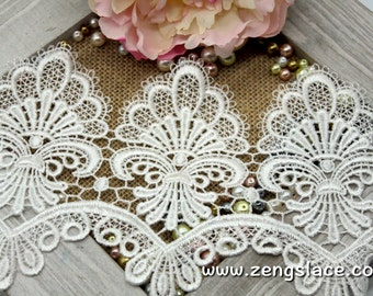 Guipure lace trim with scalloped edge/Venise Lace Trim/Wedding Lace/Bridal Lace/Vintage Lace/Anituqe Lace/Wide Lace/Lace by the yard, GL-43