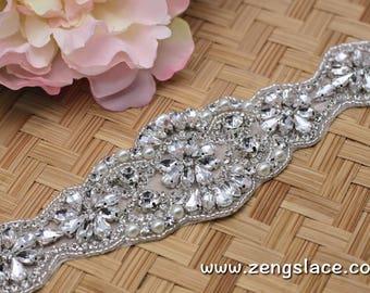 Rhinestone Sash/Wedding Sash/Bridal Sash/Wedding Dress Belt/Wedding Belt/Rhinestone Belt/Crystal Sash/Rhinestone Applique/Bridal Belt, RA-03