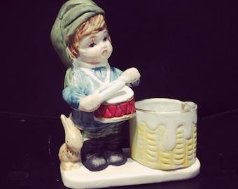 Vintage 1978 Porcelain Bisque Christmas Luvkins Drummer Boy Votive Candle Holder Figurine -  JASCO
