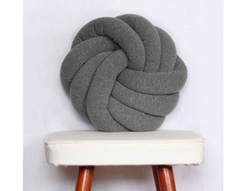 Grey Knotted Pillow Kids Baby Decorative Cushion