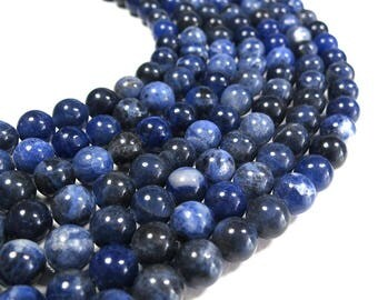 "Natural Blue Sodalite 8mm Beads Round Polished 15.5"" Full Strand"