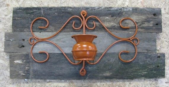 Barn board & wrought iron wall mount candle holder