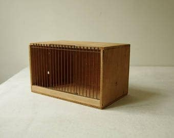 Vintage Wooden Bird cage. Bird Travel cage. Travelling cage. Wooden box. Bird travel box. bird trap, Animal trap. Medium N.5