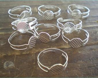 Silver Ring Blanks, Set of 24, Adjustable Rings