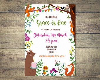 Personalized Woodland Birthday Party Invitation, Printable Invite, Cute Woodland Creatures, Fox, Bear, Squirrel, Bird 5x7