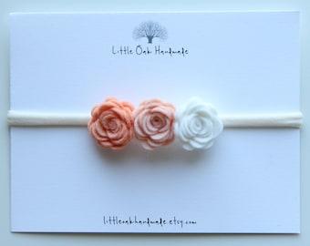Crown Felt Flower Ombre Headband - Peach Fuzz, Apricot, White - Baby Headband - Flower Headband - Nylon Headband