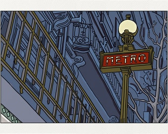 Out of the subway - Illustration Paris - printed on fine art paper
