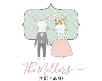 Premade Logo Bunny Kids Rabbit Couple Animals Party Wedding Accessories Handmade Branding Business Logo Shop Banner Business Card PL086