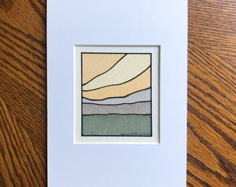 Abstract landscape, Abstract watercolor, Original painting, Small art, Minimal design, Earth tones, 5x7