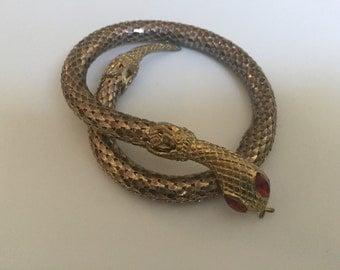 Vintage Snake Bracelet Chain Mesh Red Jeweled Eyes