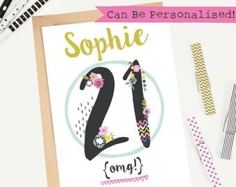 21st Birthday Card/Personalised/Customisable/Greeting Card/Illustrated/Blank/Keepsake