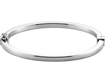 Sterling Silver 4mm Hinged Bangle Bracelet