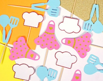 Cooking Party Cupcake Toppers, Cake Toppers, Chef Toppers, Masterchef, Baking Party, Birthday Party, Girls Birthday, Pink Party