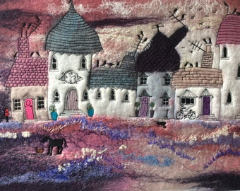 Before The Giants Came 6, Felted Art, Textile Picture, Art, Wet Felted, Needle Felt, Embroidery, One of a kind, Handmade, Fibre art, Art