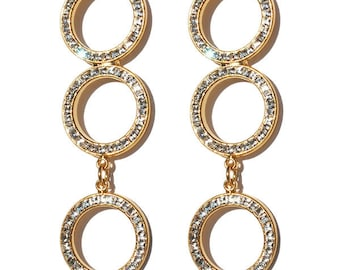 Circles of Love earrings with Crystal stones
