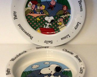Vintage Peanuts  Johnson Bros Child's Dish Set ~ Plate and Bowl