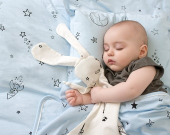 White bunny-organic Security blanket- lovey blanket Made from 100% organic jersey cotton with stars print or origami ,baby gift, baby shower
