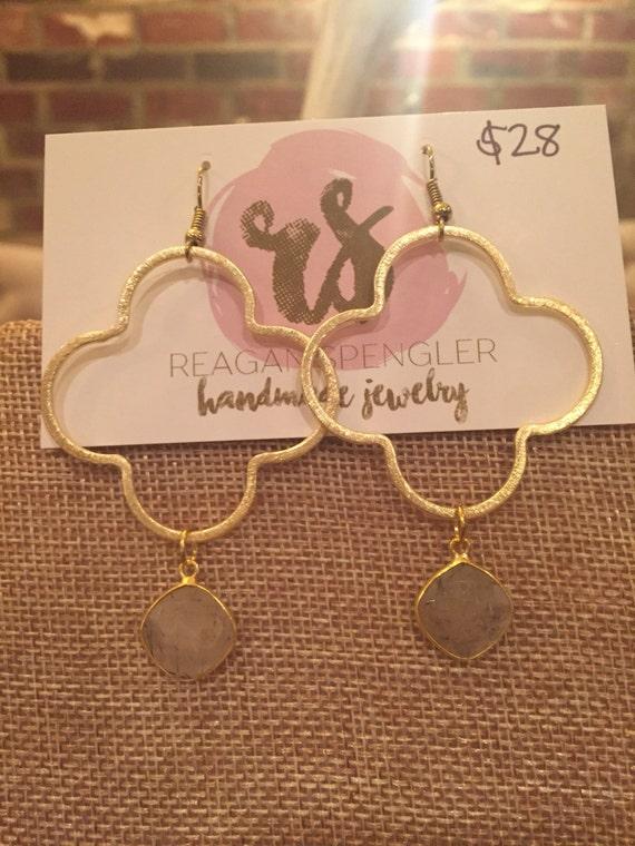 Gold clover hoops with quartz pendant drops