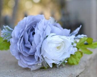 "The ""Marble"" floral halo crown // gatsby theme, gray wedding, bridal headpiece, wedding headpiece, bridesmaid headpiece, floral tiara"