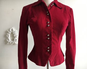 Vintage // Victorian Style Top // 1940's // 1950's // Burgundy // Corduroy // Made in USA