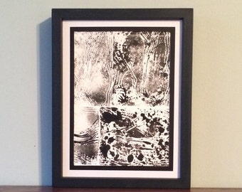 Abstract Sideway Landscape with Black Spots- Original Relief Print