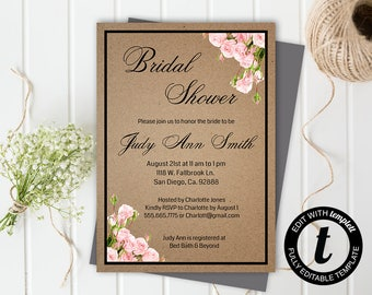 floral bridal shower invitation,bridal shower invitation template,wedding template,bridal shower,editable, kraft paper,5x7 template, roses