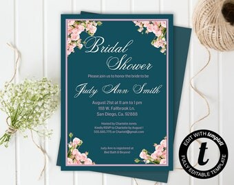 floral bridal shower invitation,bridal shower invitation template,wedding template,bridal shower,editable,5x7 template, pink roses,teal