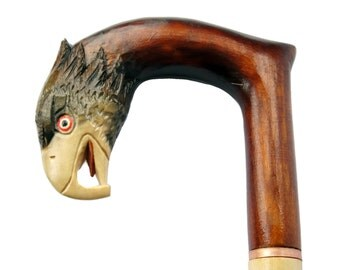 Handmade walking stick with eagle on the top - amazing work!