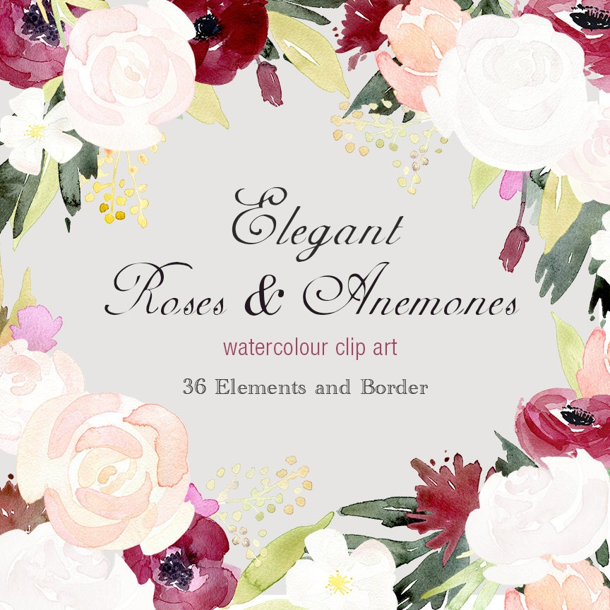 Watercolour Floral Border And Elements Elegant Roses And