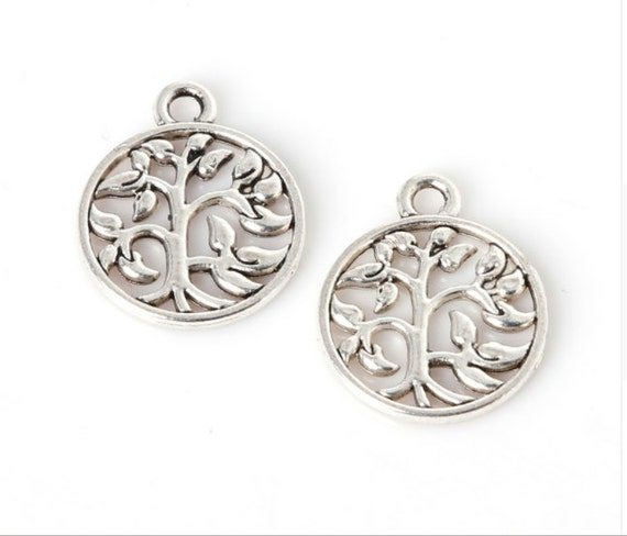 11pcs 15x18mm Zinc Alloy Antique Silver Round Shape Tree DIY Charms Pendants