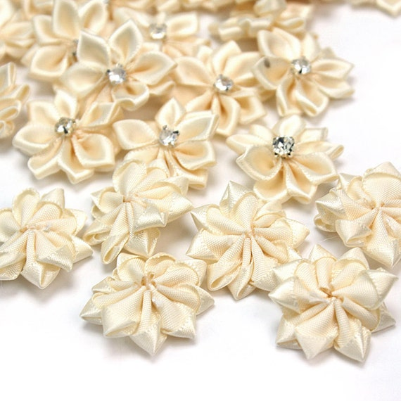 40pcs Small Fabric Satin Flowers with Rhinestonep Appliques Sewing DIY Garment Accessories Craft