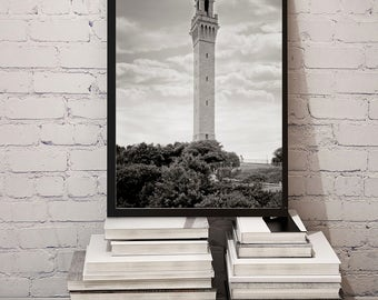 Provincetown MA Photo, Pilgrim Monument, Barnstable County, MA, Historical Provincetown, Wall Art, Home Decor, Black White, Summer, 1937