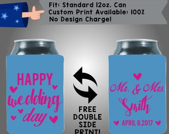 Happy Wedding Day Mr. &Mrs. Name Date Collapsible Fabric Wedding Cooler Double Side Print (W210)