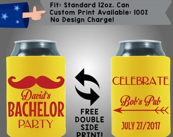 Name's Bachelor Party Celebrate Location Date Collapsible Fabric Bachelor Party Can Cooler Double Side Print (Bach24)
