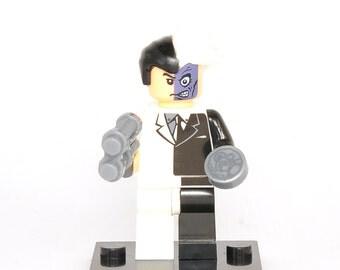 Two-Face Custom Minifigure DC Comics Compatible With Lego Super Hero Blocks Bricks Building Toys