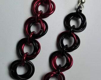 Earrings Black/Red Roses