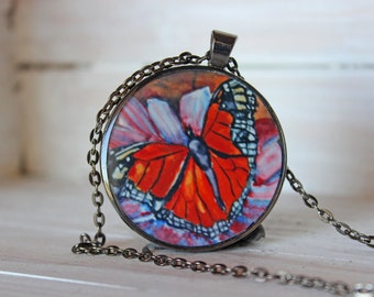 Monarch Butterfly jewelry, butterfly wings, butterfly art, spring necklace, Pendant Necklace, wearable art, art necklace, insect necklace