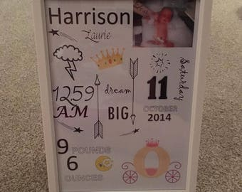 New born baby personalised gift frame