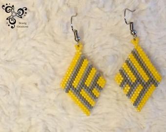 Yellow and Grey earring with Miyuki beads