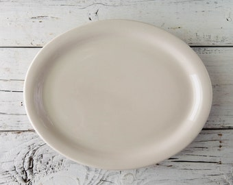 Cream Ceramic Oval Plate-Food Photography Props