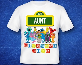 Aunt of the Birthday Girl Sesame Street iron on transfer, high resolution, digital files only, instant download