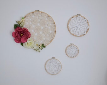 Crocheted Floral Doiley Wall Art Series