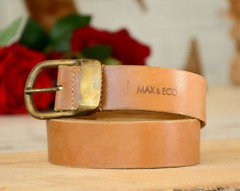 "Men's Leather Belt, 1.5"" wide with Solid Buckle, Tanned Natural Belt, Handmade Belt, Mens Tan Leather Belt, Tan Belt"