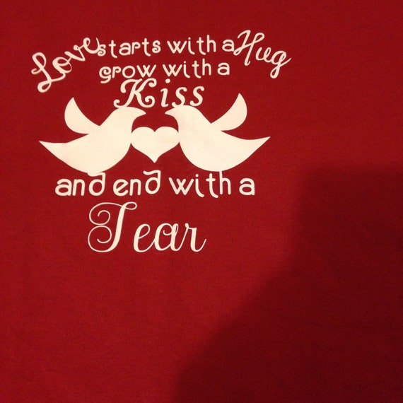 Red t-shirt small, love starts with a hug