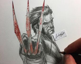 Logan / Wolverine ORIGINAL Illustration marvel artwork A4