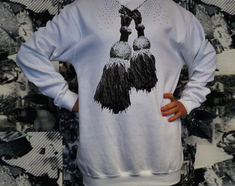 CHEERLEADER and studs-print Sweatshirt hoodie with Pompom message and domestuds