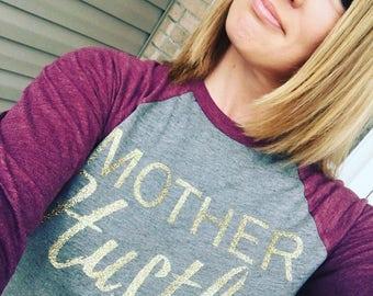 Mother Hustler glitter 3/4 sleeve raglan shirt