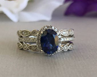 Art Deco Oval Blue Sapphire White Simulated Diamond Engagement Set Solid Sterling Silver 3PC Fancy Wedding