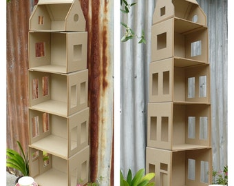 DIY Dolls house Flat-Packed Cardboard Kit - Amsterdam Canal House - Huisje Nude Doll House - 1:12 scale (approx)