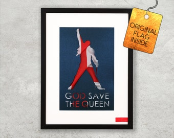 Freddie Mercury Queen - Framed Wall Decor incl. original England flag for Queen / Mercury / England / Rock / Radio Gaga / Bohemian / Band